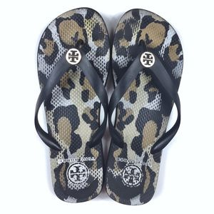 Tory Burch Animal Print Flip Flops